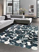 CARPETIA Kuhfell Teppich Patchwork in Schwarz Grau