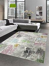 Carpetia Moderner Teppich Kurzflor Teppich Wohnzimmerteppich grau bunt Größe 80x150 cm