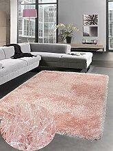 Carpetia Shaggy Teppich Hochflorteppich Uni rosa