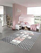 CARPETIA Teppich Kinderzimmer Hüpfspiel Muster