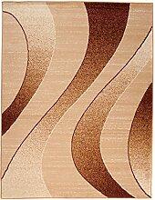 Carpeto Designer Teppich mit Modern Wellen Meliert