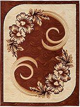 Carpeto Klassisch Teppich Braun 80 x 150 cm Blumen