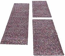 Carpetsale24 Bettumrandung- Läufer Set Shaggy