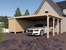 Carport Flachdach AVUS XVI 800x600 cm mit Geräteraum Flachdachcarpor