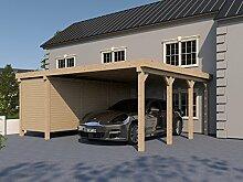 Carport Flachdach AVUS XVII 600x600 cm mit Geräteraum Flachdachcarpor