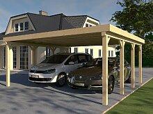Carport Flachdach MONTREAL III 600 x 600 cm Bausatz Leimbinder Fichte