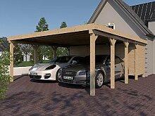 Carport Flachdach MONTREAL IX 600x800 cm mit Geräteraum Leimbinder Fichte