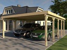 Carport Flachdach MONTREAL V 600x800 cm Bausatz Leimbinder Fichte