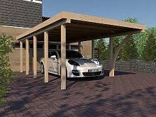 Carport Flachdach MONTREAL X 400 x 800 cm mit Leimholzbogen Leimbinder Fichte