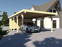 Carport Flachdach MONTREAL XIV - 500 x 800 cm Mit Geräteraum Leimbinder Fichte Flachdachcarpor