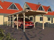 Carport Flachdach MONTREAL XXIII 300 x 800 cm Leimbinder Fichte Bausatz