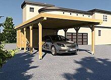 Carport Flachdach SILVERSTONE XII 500x800 cm Mit Geräteraum Bausatz Flachdachcarpor