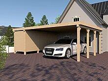 Carport Flachdach SILVERSTONE XVI 800x600 cm mit Geräteraum Flachdachcarpor