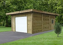 Carport - Garage Datura S7756 - 120 x 120 mm Pfostenstärke, kesseldruckimprägniert, Grundfläche: 23,85 m², Flachdach