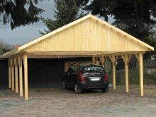 Carport Satteldach MONACO V 700cm x 700cm Bausatz Leimbinder Fichte