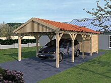 Carport (Satteldach) MONACO XIII 400cm x 800cm, mit Geräteraum