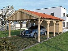Carport (Satteldach) MONTE CARLO XI 500cm x 800cm, mit Geräteraum