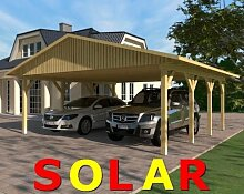 Carport Satteldach SUNSHINE I SOLAR 600x600cm KVH-Holz Satteldachcarport Solarcarpor