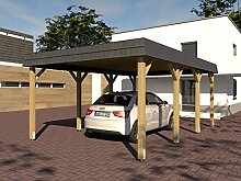 Carport Walmdach SAUERLAND VII 400 x 600cm mit Schieferblende