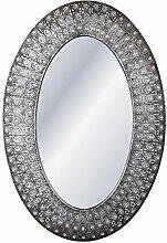Carrick Design grau Metall Oval Spiegel mit Gems 70x 105cm