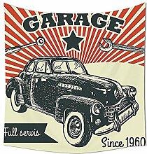 Cars Decor Wandteppich für Retro Auto und Garage