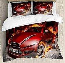 Cars-Sets, Reifen Burnout rote Sportwagen in dem