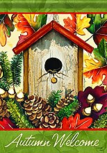 Carson Home Accents Herbst Vogelhaus Trends Classic Garden Flagge