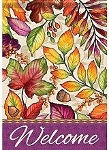 Carson Plum & Orange Blätter Garten Flagge 46036
