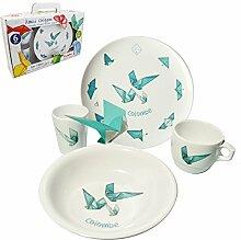 CARTAFFINI ' Set 4teilig Freunde Origami–Tauben aus Melamin, Teller, Etui, Becher, Tasse. In Koffer Geschenk