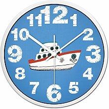 Carton Wanduhr Für Kinderzimmer Themenraum Boot-Entwurf ( farbe : Weißer Rand , größe : 12 Zoll )