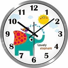 Carton Wanduhr Für Kinderzimmer Themenraum Elefant-Entwurf ( farbe : Grauwert-Kanten , größe : 12 Zoll )
