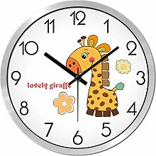Carton Wanduhr Für Kinderzimmer Themenraum Schöne Giraffe ( farbe : Grauwert-Kanten , größe : 14 Zoll )