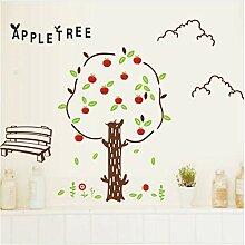 Cartoon apple tree wandaufkleber für kinderzimmer