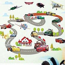 Cartoon Autobahn Spur Auto Wandaufkleber