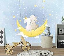 Cartoon Bunny Love Moon Sternenhimmel Fototapete
