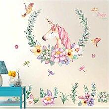 Cartoon Einhorn Sitcker Kinderzimmer