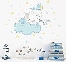 Cartoon Elefant auf den Wolken Wandaufkleber