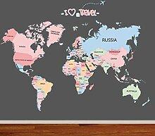 Cartoon Englisch Weltkarte Wandaufkleber