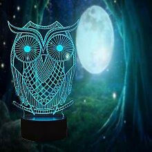 Cartoon-Eulen-Adler, kreatives Nachtlicht, 3D-LED,