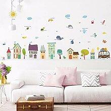 Cartoon Farbe Hausbau Wandaufkleber Aufkleber Für