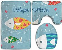 Cartoon Fisch Und Blaue Streifen 3 Stück