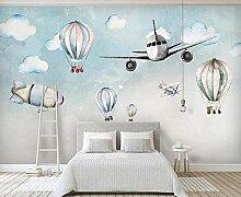 Cartoon Flugzeug Heißluftballon Minimalistische
