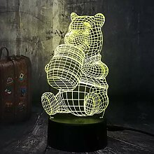 Cartoon Form 3D niedlich Honig Winnie Bär LED