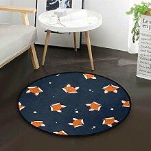 Cartoon Fox Polka Dots Runde Teppich für