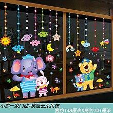 Cartoon Glastür Aufkleber Wandaufkleber