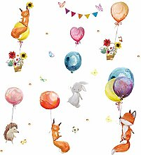 Cartoon handgemalte Fox Ballon Wandpaste