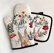 Cartoon Hase Muster Backen Handschuhe Isoliermatte