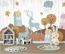 Cartoon Haus, Baum, Wolken, Ahorn, Herbst Elch