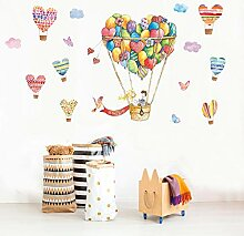 Cartoon Heißluftballon Wandaufkleber Kinderzimmer