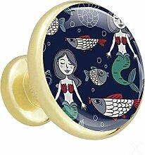 Cartoon Meerjungfrau Und Fische Möbelknopf Gold